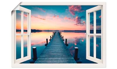 Artland Wandbild »Pier im Sonnenaufgang«, Fensterblick, (1 St.), in vielen Größen &... kaufen