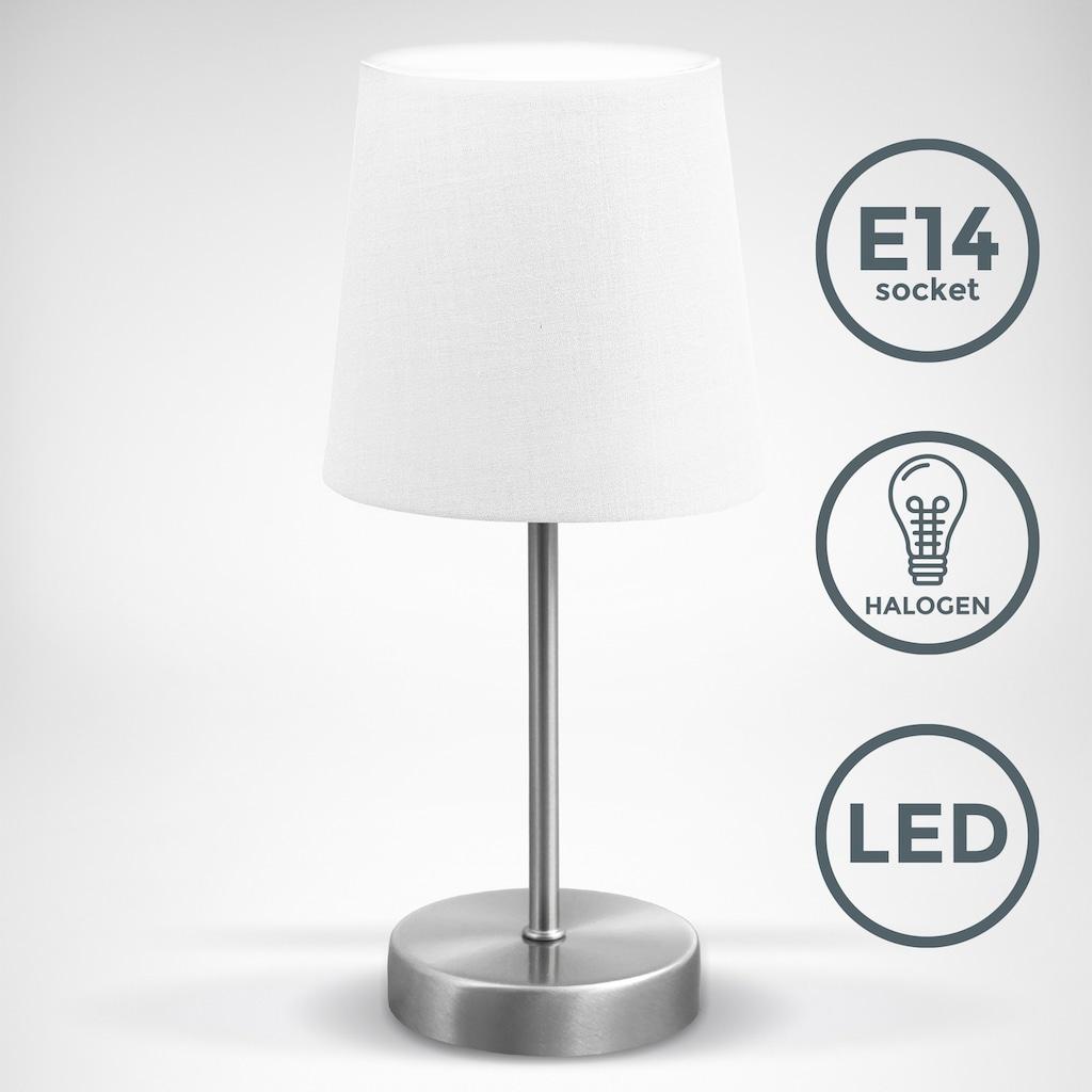 B.K.Licht Tischleuchte, E14, LED Nachttischlampe mit Schalter E14 IP20 Stoff taupe matt-nickel