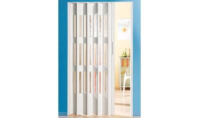 Kunststoff - Falttür , Höhe nach Maß, weiß mit Fenstern in Riffelstruktur kaufen