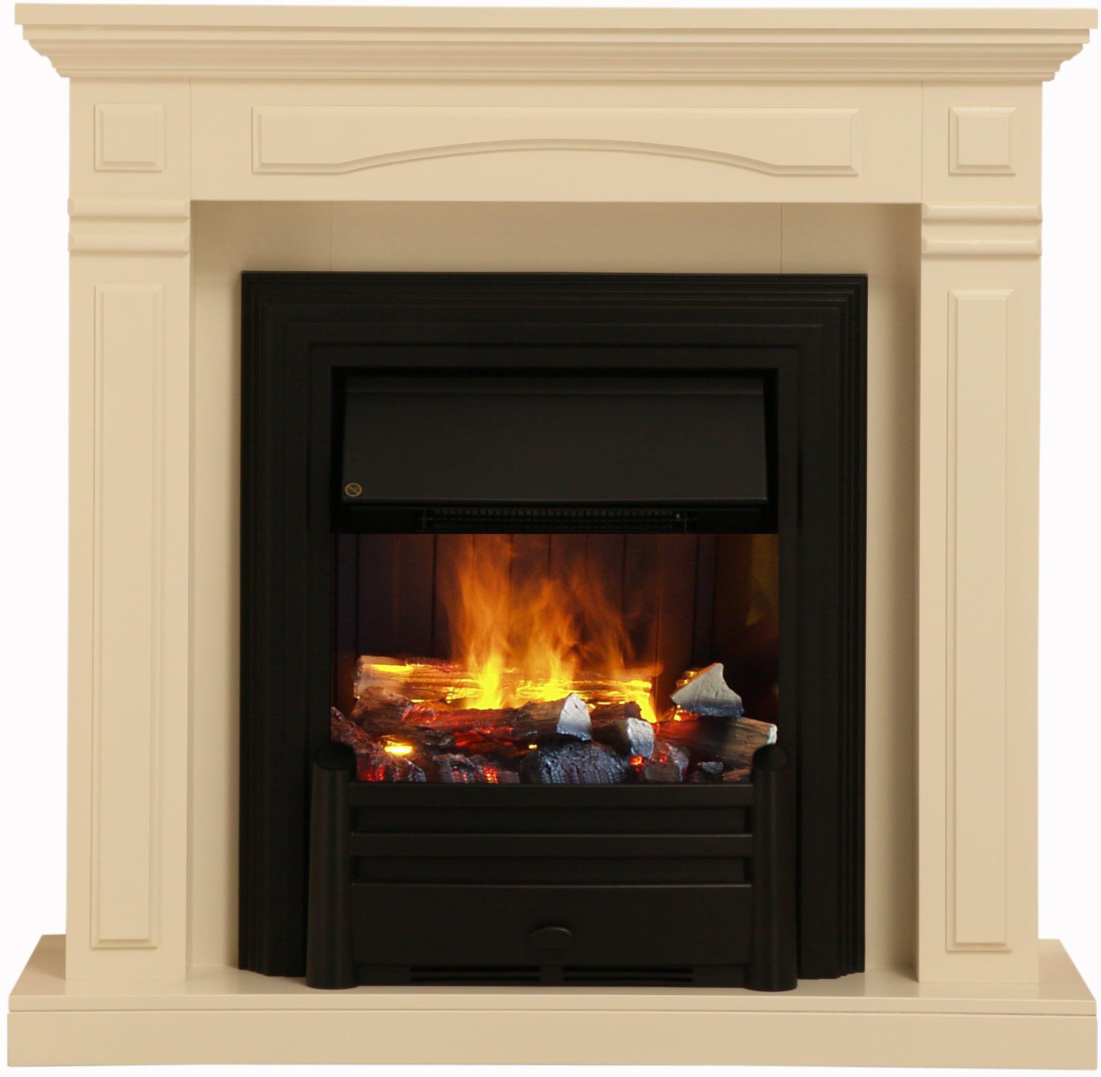 Elektrokamin ´´GLASGOW´´ albero cremeweiß lackiert   Wohnzimmer > Kamine & Öfen   Weiß   Marmor - Holzfaserplatte   Albero
