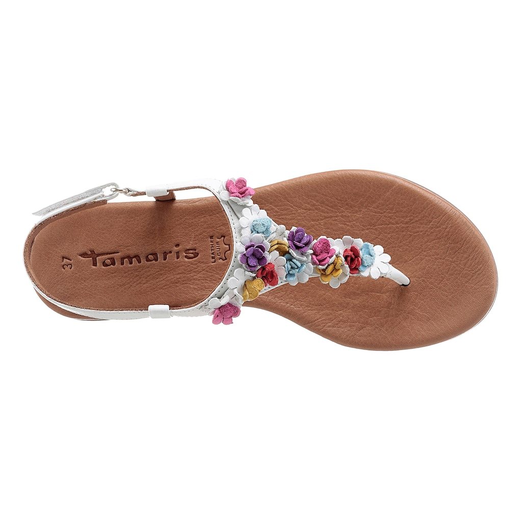 Tamaris Riemchensandale, mit femininen Lederblüten