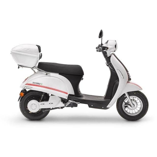 Luxxon E-Motorroller »E3100 LI 45 km/h«, 2000 Watt, 45 km/h, Euro 4 (Set, 2-tlg., mit Topcase)