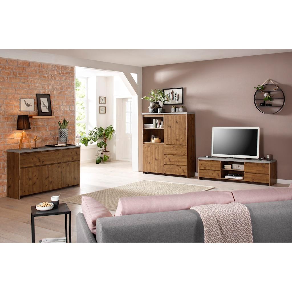 Home affaire Lowboard »Maribo«, im modernem Landhaus-Stil, mit einer schönen Betontopplatte, Breite 150 cm