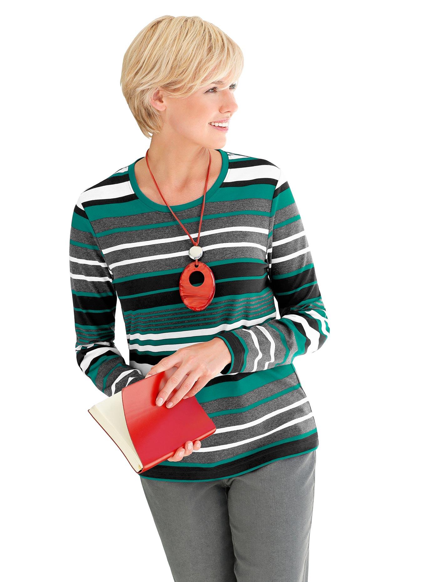 casual looks -  Shirt mit paspeliertem Rundhals-Ausschnitt