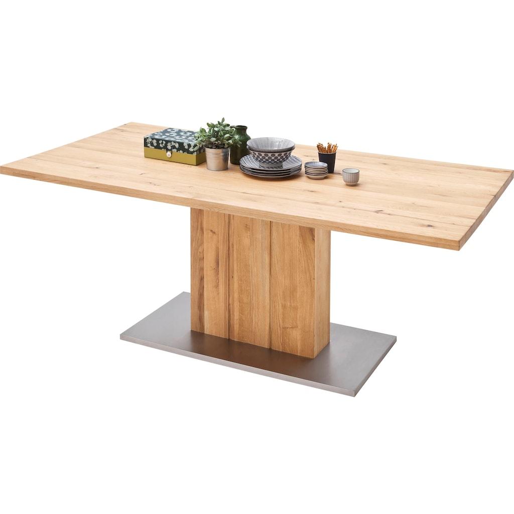 MCA furniture Esstisch »Greta«, Esstisch Massivholz mit Baumkante, gerader Kante oder geteilter Tischplatte