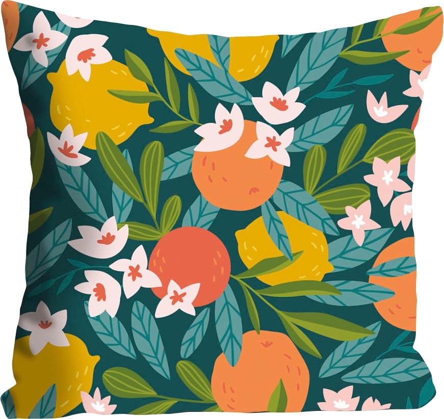 queence Kissenhülle Adina, (1 St.), mit Orangen und Zitronen bunt Kissenbezüge gemustert Kissen
