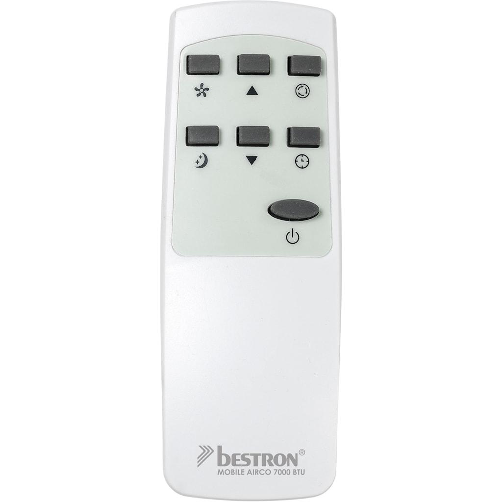 bestron Klimagerät »mobiles Gerät«, für Räume bis 28m², Kühlleistung 2,1 kW mit umweltfreundlichem Kühlmittel, 7.000BTU/h, Farbe: weiß
