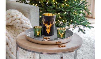 EDZARD Windlicht »Wald«, Kerzenglas mit Hirsch-Motiv in Gold-Optik, Kerzenhalter für... kaufen