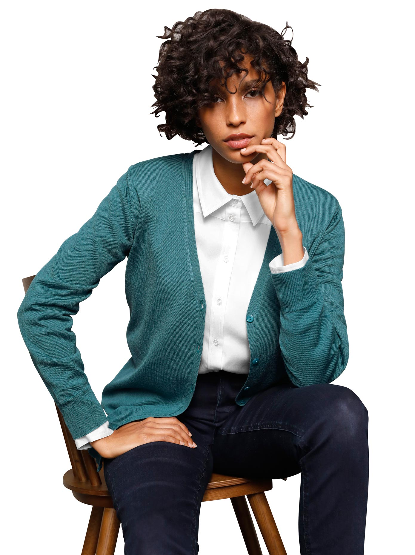 casual looks -  Strickjacke aus Merino-Wolle