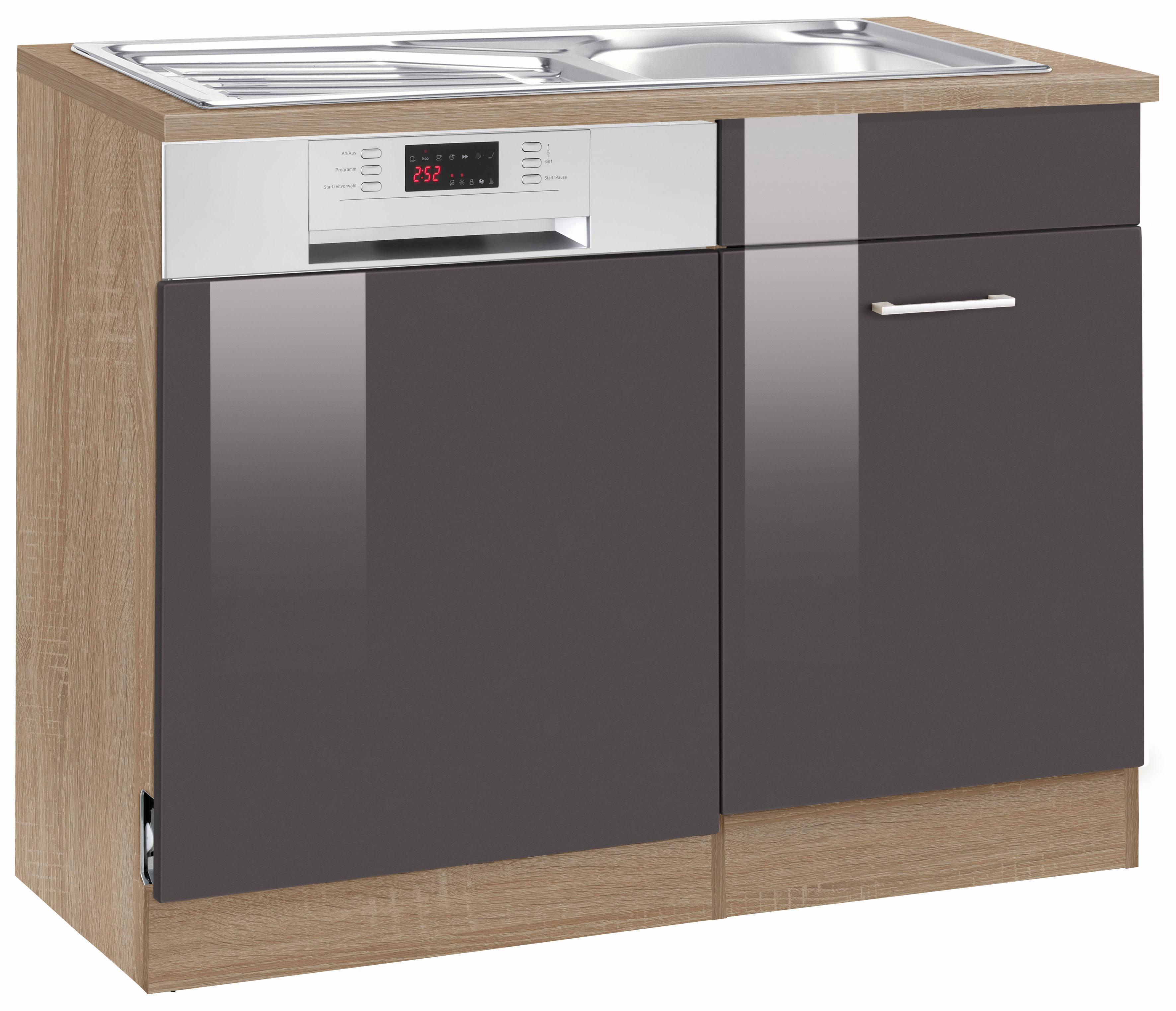 HELD MÖBEL Spülenschrank Graz Breite 110 cm mit Tür/Sockel für Geschirrspüler | Küche und Esszimmer > Küchenschränke > Spülenschränke | Grau | Held Möbel