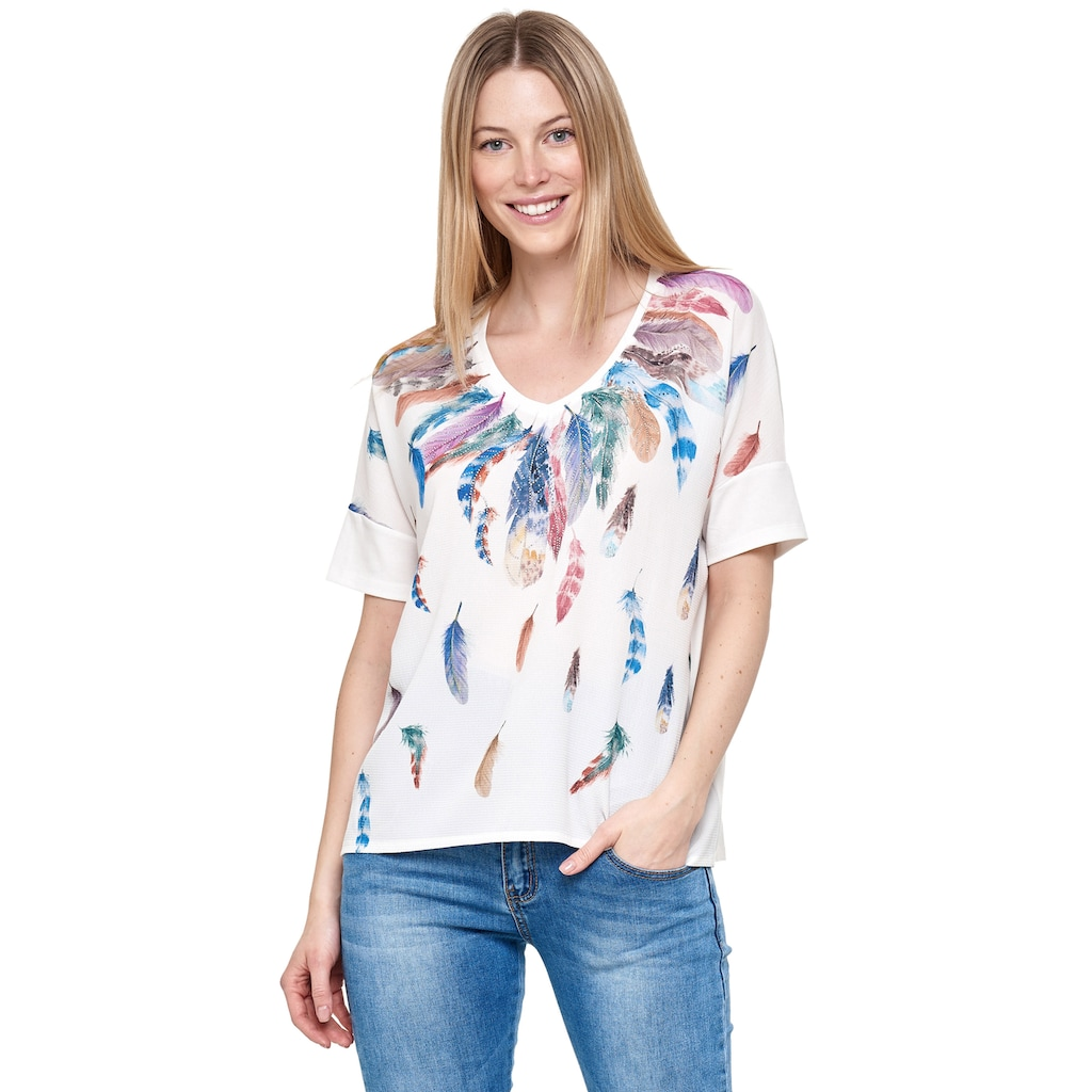 Decay T-Shirt, mit tollem Feder-Print