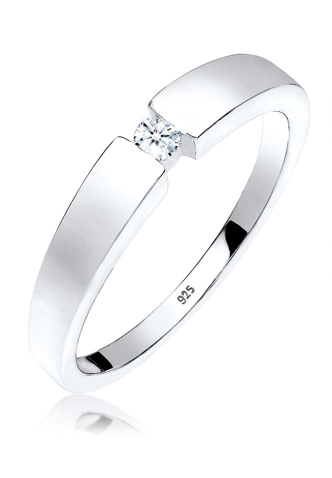 Elli Diamantring Klassisch Bandring Diamant 006 ct 925 Silber   Schmuck > Ringe > Diamantringe   Weiß   Elli