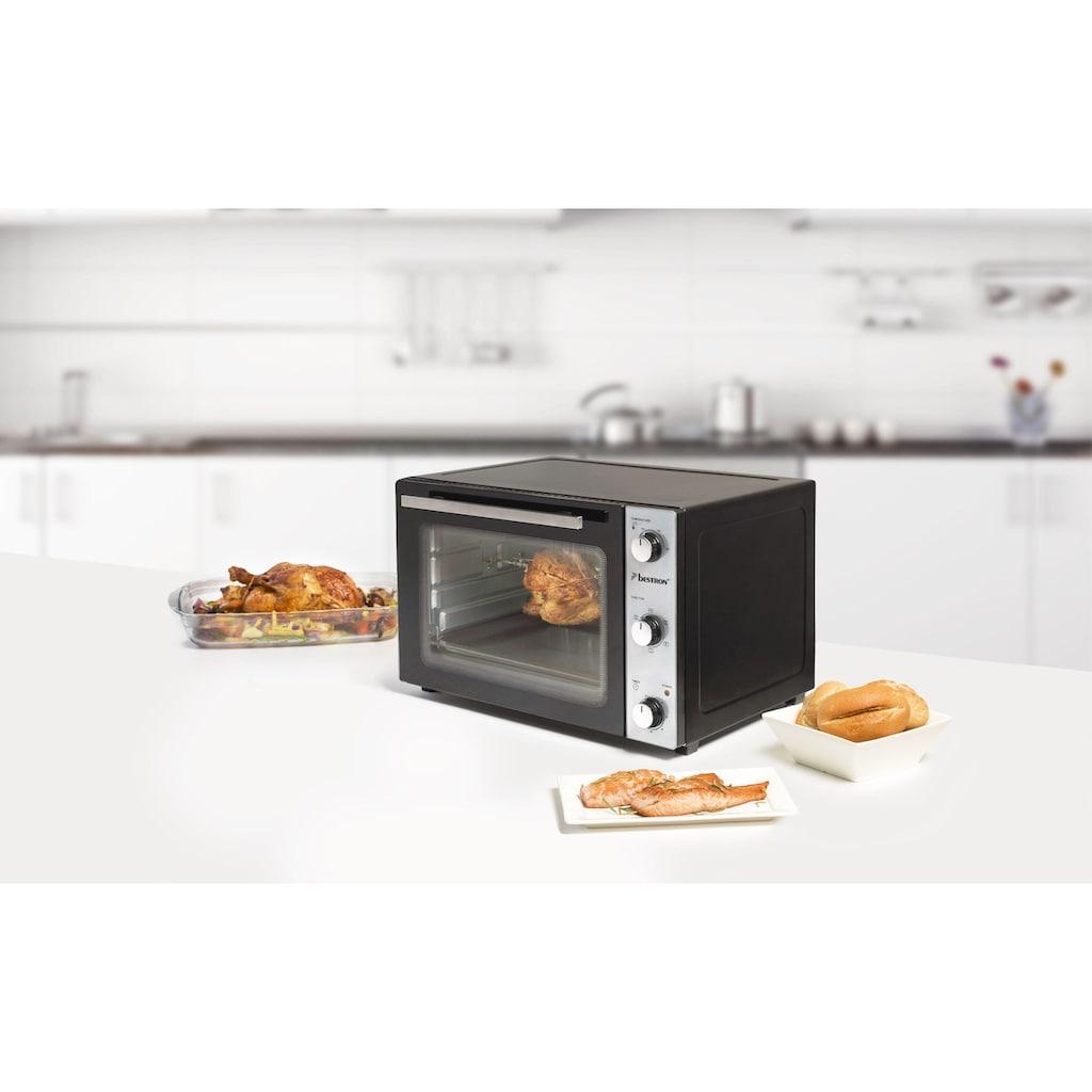 bestron Minibackofen »2-in-1 Gerät«, Umluft-Ober-/Unterhitze, 1500 W, mit Drehspieß, 1500 W, Edelstahl, Schwarz