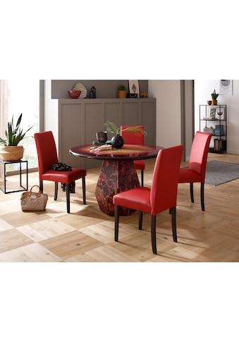Premium collection by Home affaire Esstisch »Omega«, aus massivem Mangoholz, mit besonderen Farbakzenten auf dem Fußgestell und einem einzigartigen Farbverlauf auf der Tischplatte kaufen
