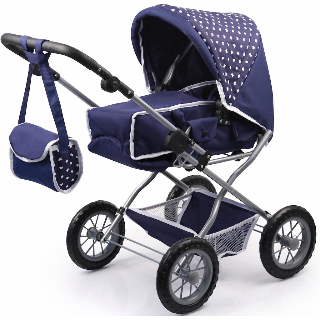 Bayer Kombi-Puppenwagen »Grande, Blau/Weiß«, mit Puppenbett und Puppenzubehör