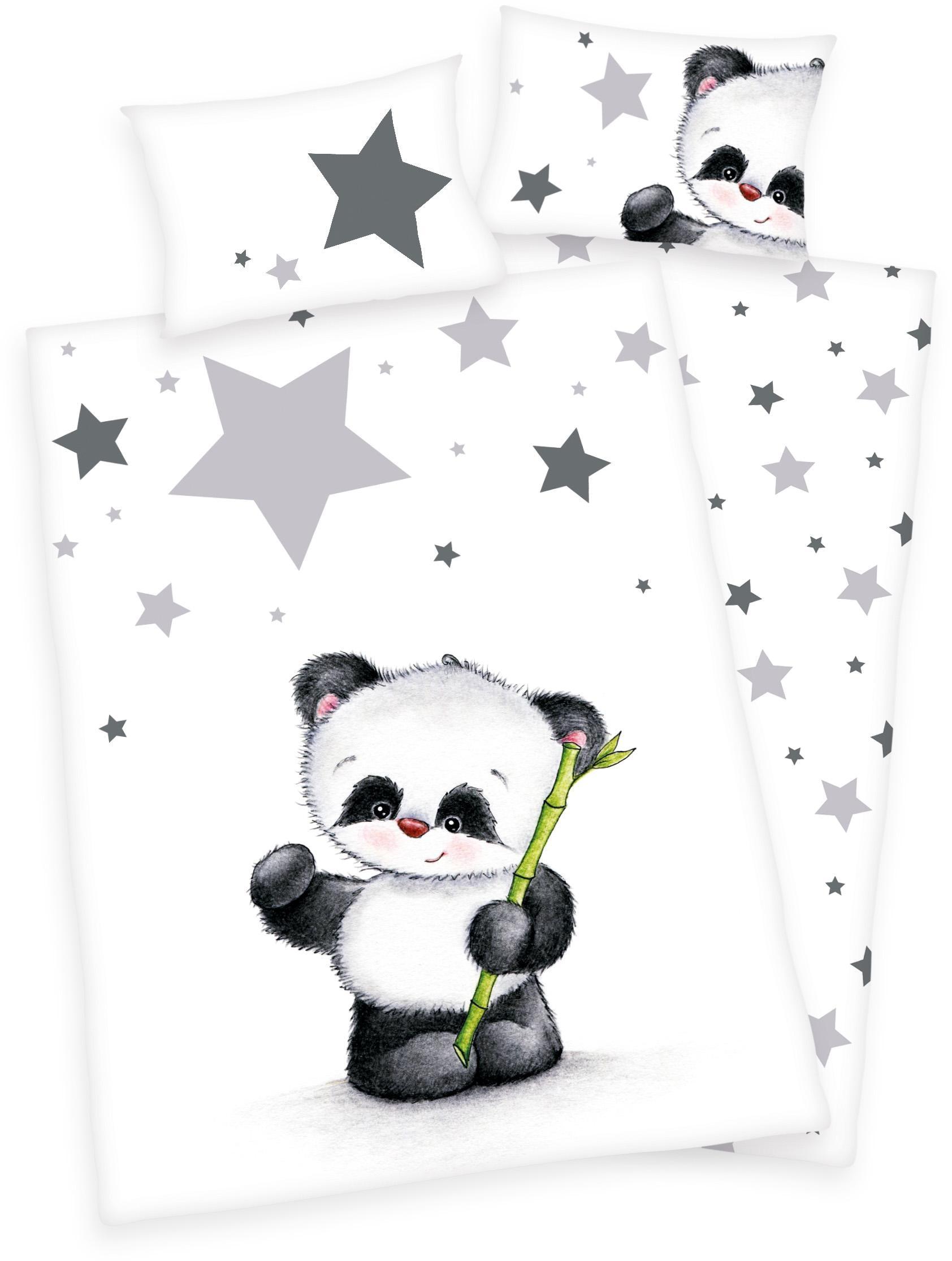 Babybettwäsche Jana Panda Baby Best | Kinderzimmer > Textilien für Kinder > Kinderbettwäsche | Weiß | Baby Best