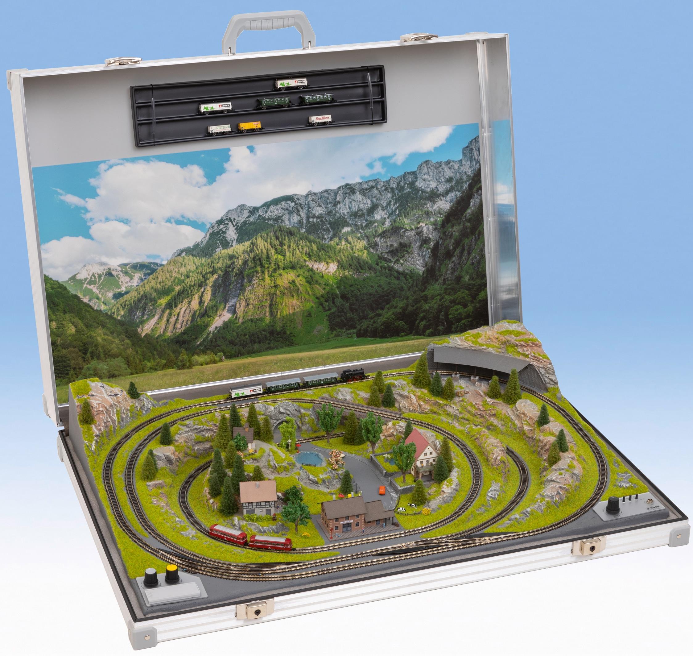 NOCH Modelleisenbahn-Set Modellbahnkoffer Meran, Made in Germany silberfarben Kinder Modelleisenbahn-Sets Modelleisenbahnen Autos, Eisenbahn Modellbau