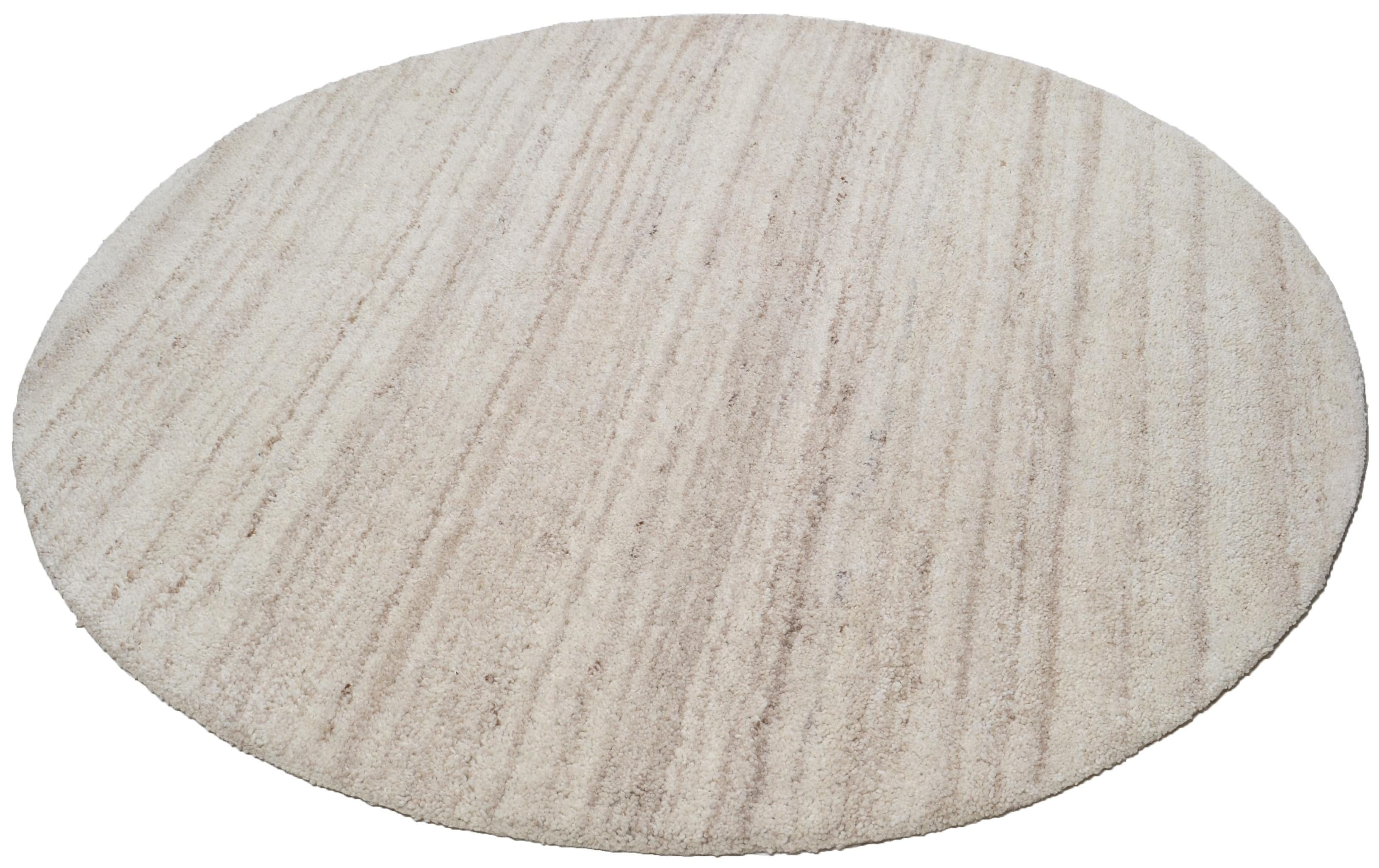 Teppich Royal Berber Uni THEKO rund Höhe 18 mm handgetuftet
