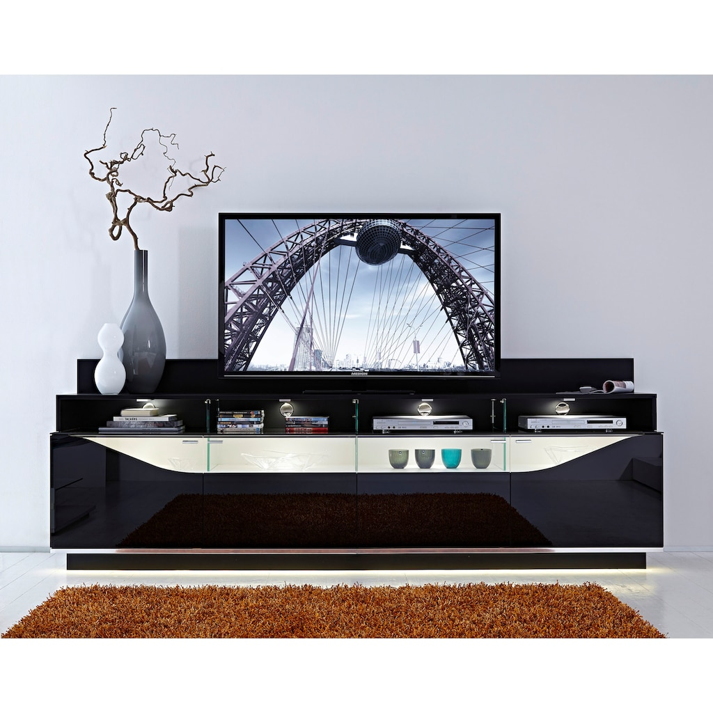 LEONARDO Lowboard »CURVE«, mit Vitrine, Innenfarbe Lack weiß, Breite 260 cm