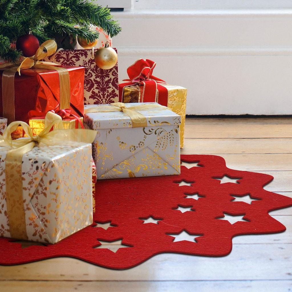 Wall-Art Tischdecke »Rote Weihnachtsbaumdecke Sterne«
