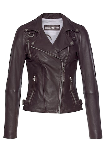 Freaky Nation Lederjacke »Biker Princess-FN«, Bikerjacke mit coolen Zipper-Details kaufen