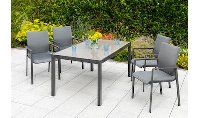 MERXX Gartenmöbelset »Bellino«, (5 tlg.), 4 Gartensessel mit Tisch für den Outdoorbereich kaufen