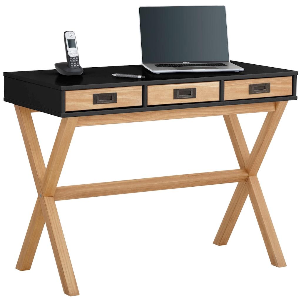 Home affaire Schreibtisch »Saillon«, aus schönem massivem Kiefernholz, in zwei verschiedenen Farbvarianten, Breite 100 cm