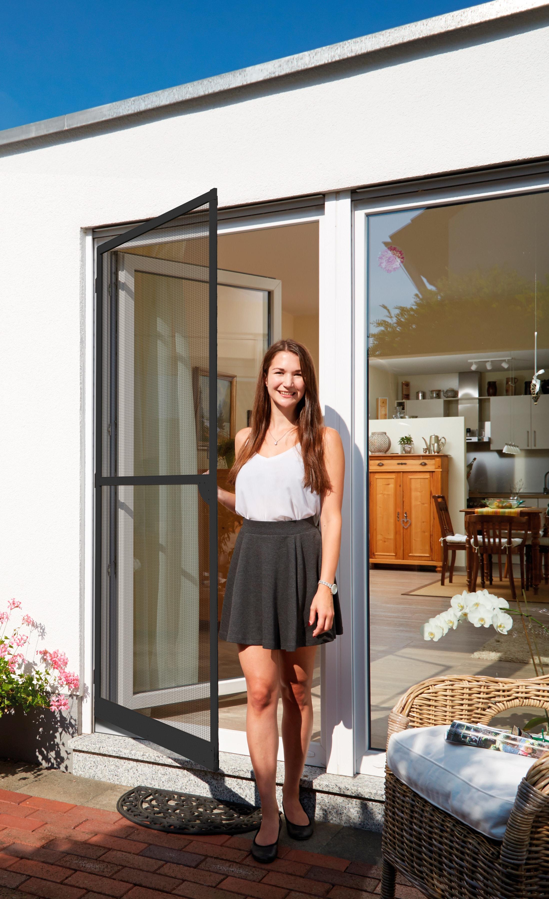 SCHELLENBERG Insektenschutz-Tür, BxH: 120x240 cm grau Fliegengitter Insektenschutz Bauen Renovieren Insektenschutz-Tür