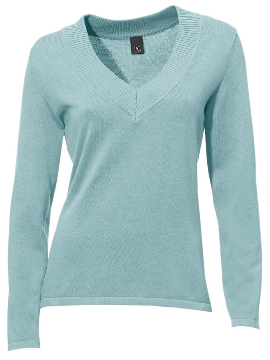 heine CASUAL V-Pullover in tnaillierter Form   Bekleidung > Pullover > V-Pullover   Blau   heine