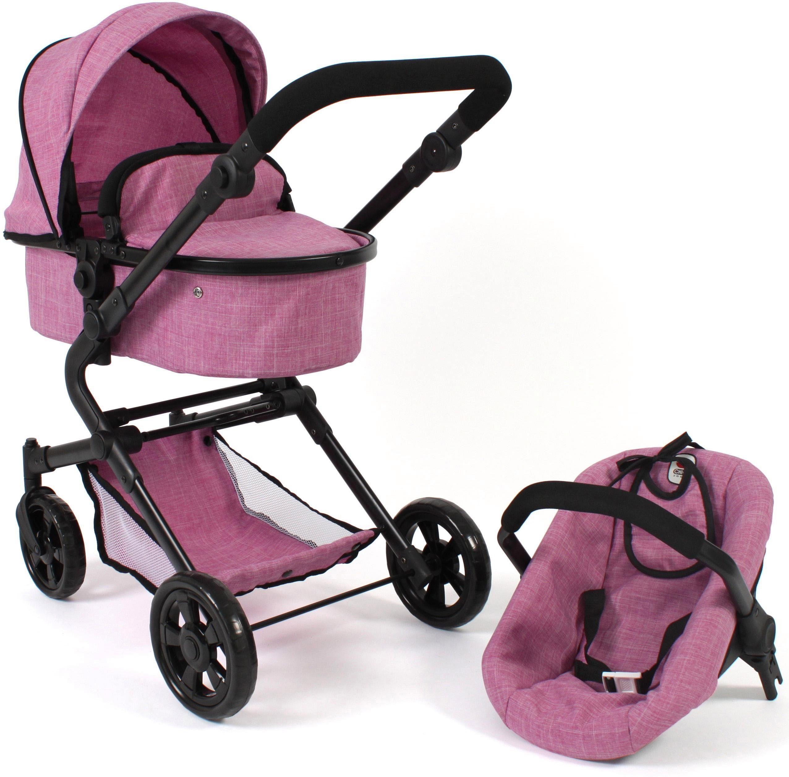 CHIC2000 Kombi-Puppenwagen Lia, Jeans pink, mit Puppen-Autositz rosa Kinder Puppenzubehör Puppen