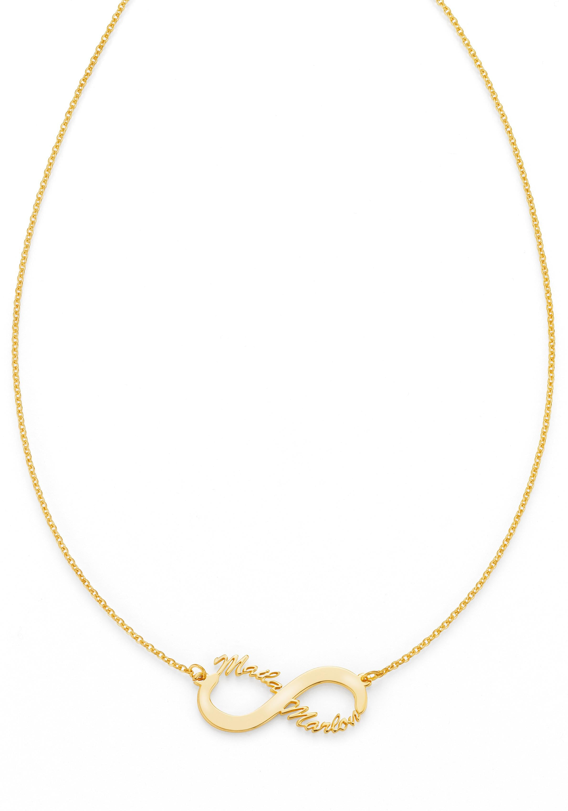 Firetti Namenskette Infinity Unendlichkeitsschleife - individuell mit 2 Namen gestalten | Schmuck > Halsketten > Namensketten | Goldfarben | Firetti