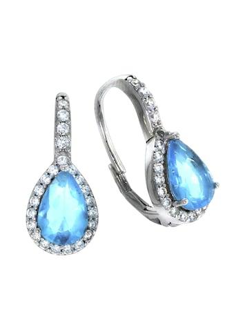 Vivance Paar Ohrhänger »925/- Sterling Silber rhodiniert«, Glasstein blau + 23... kaufen