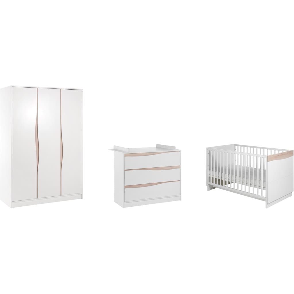 Geuther Babyzimmer-Komplettset »WAVE birdie-buche, 3-tlg.«, (Set, 3 St.), mit Kinderbett, Schrank und Wickelkommode