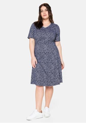 Sheego Jerseykleid, mit Alloverdruck und V-Ausschnitt kaufen
