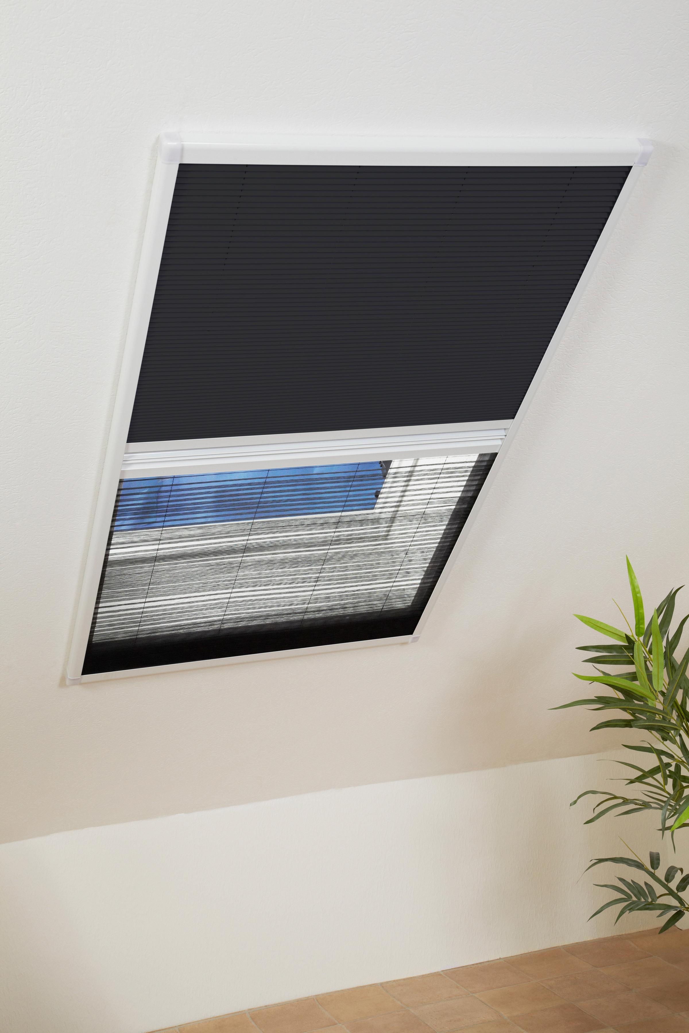 hecht international Insektenschutz-Dachfenster-Rollo, weiß/schwarz, BxH: 110x160 cm weiß Insektenschutzfenster Insektenschutz Bauen Renovieren Insektenschutz-Dachfenster-Rollo