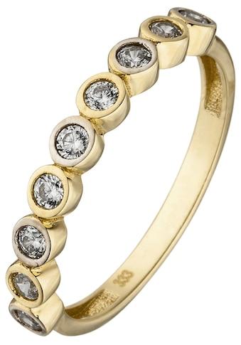 JOBO Fingerring, 333 Gold bicolor mit 9 Zirkonia kaufen