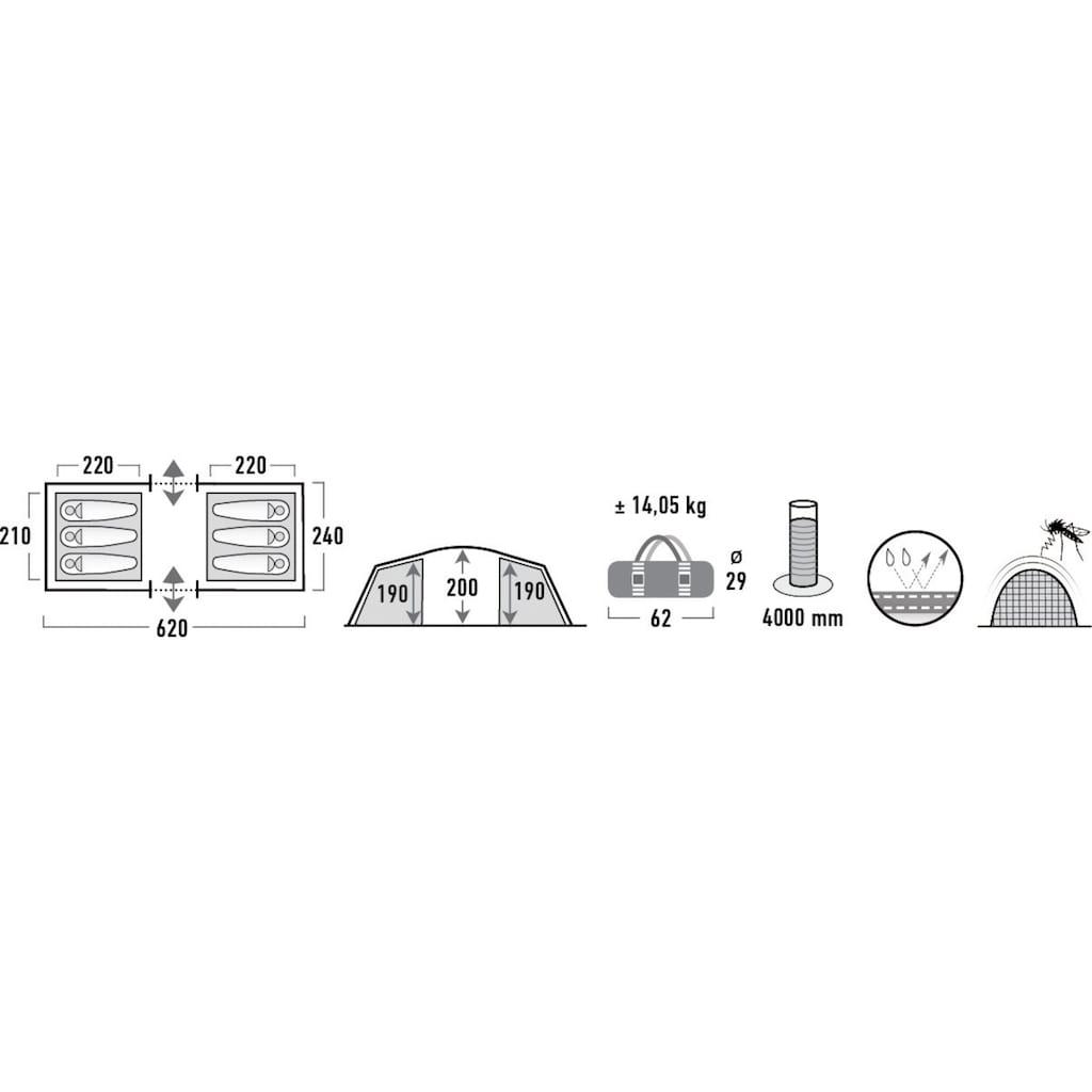 High Peak Tunnelzelt »Tauris 6«, 6 Personen, (Set, mit Transporttasche)