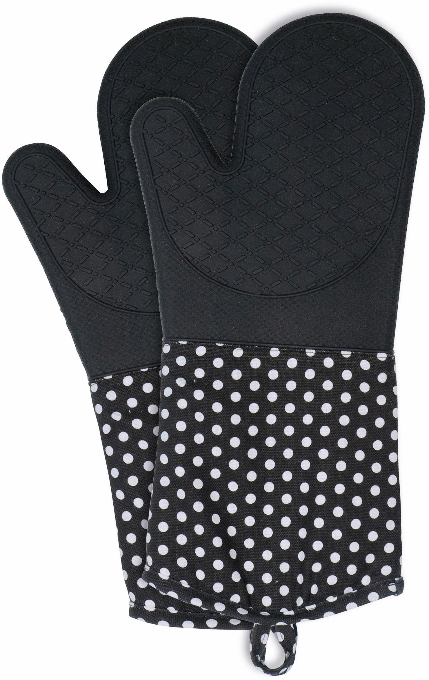 WENKO Topfhandschuhe, aus Silikon schwarz Topflappen und Topfhandschuh Kochen Backen Haushaltswaren Topfhandschuhe