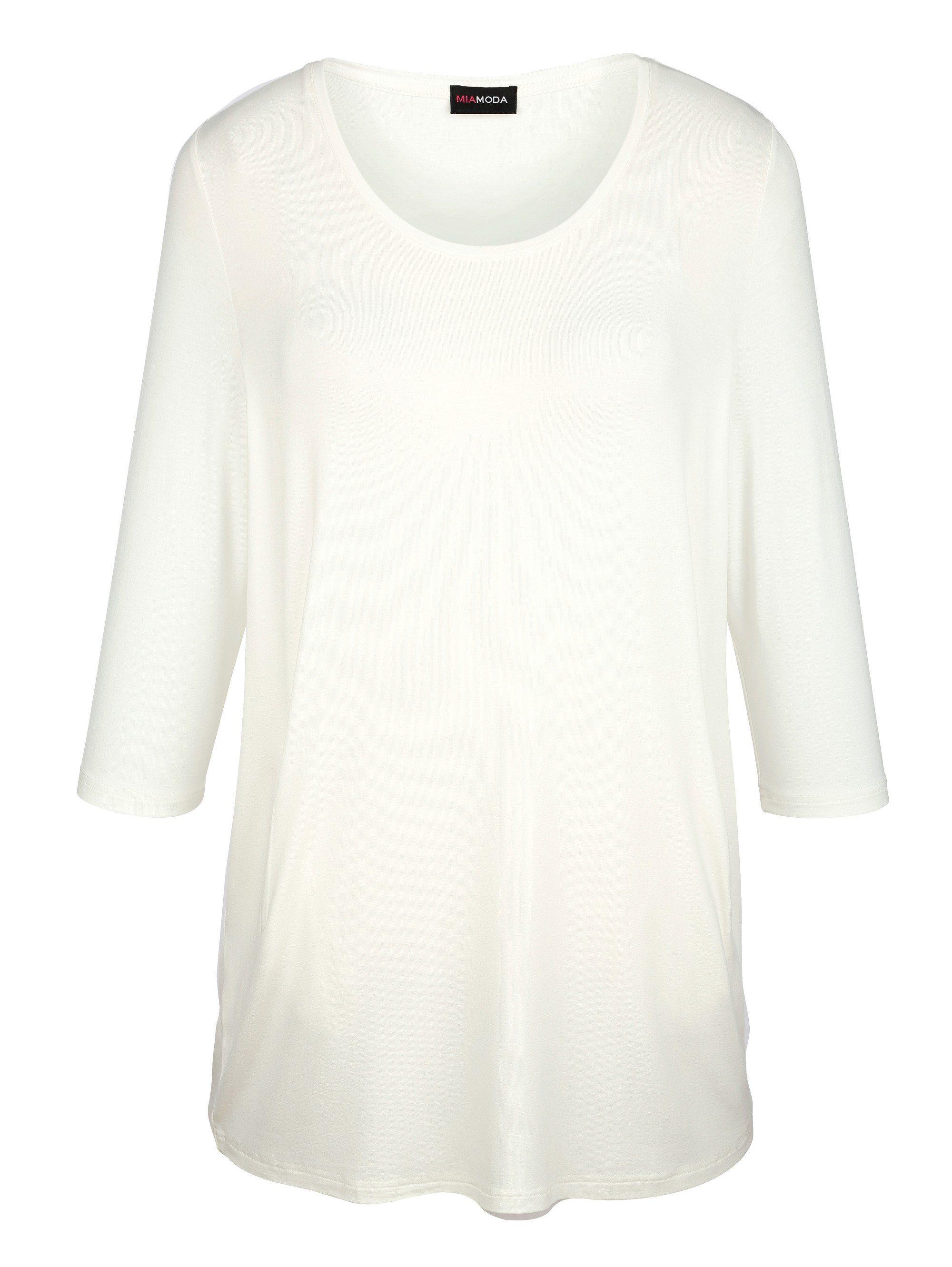 MIAMODA Longshirt mit seitlichen Eingriffstaschen | Bekleidung > Shirts > Longshirts | Beige | Miamoda