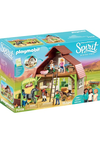 Playmobil® Konstruktions-Spielset »Stall mit Lucky, Pru & Abigail (70118), Spirit Riding Free«, Made in Germany kaufen