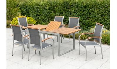 MERXX Diningset »Siena«, 7 - tlg., 6 Sessel, Tisch 150x90 cm, Alu/Akazienholz kaufen
