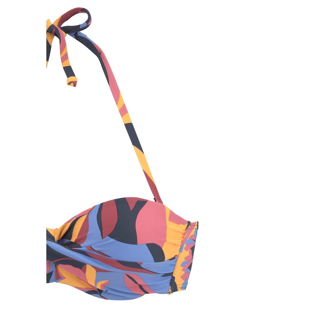 Sunseeker Bügel-Bandeau-Bikini, mit Blätterdruck