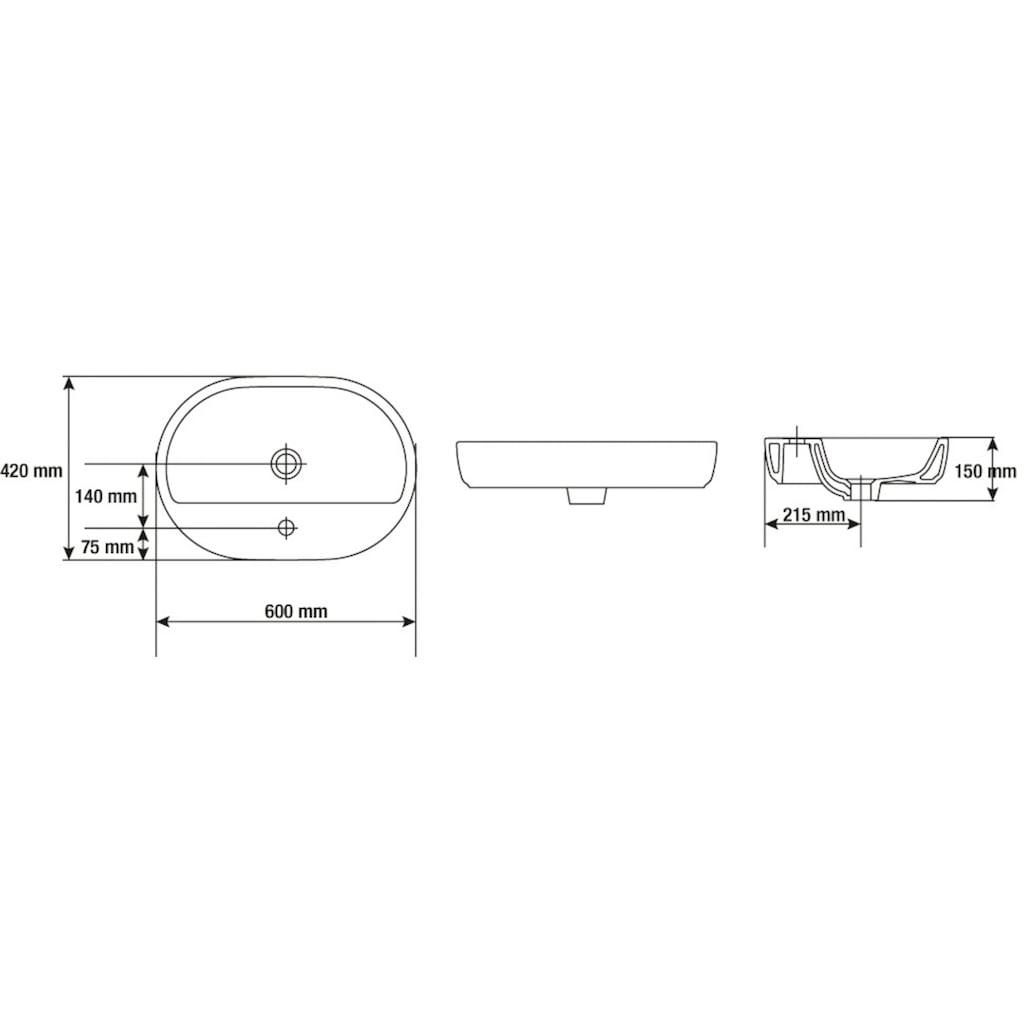 CORNAT Aufsatzwaschbecken »Caspia oval«, mit Armatur