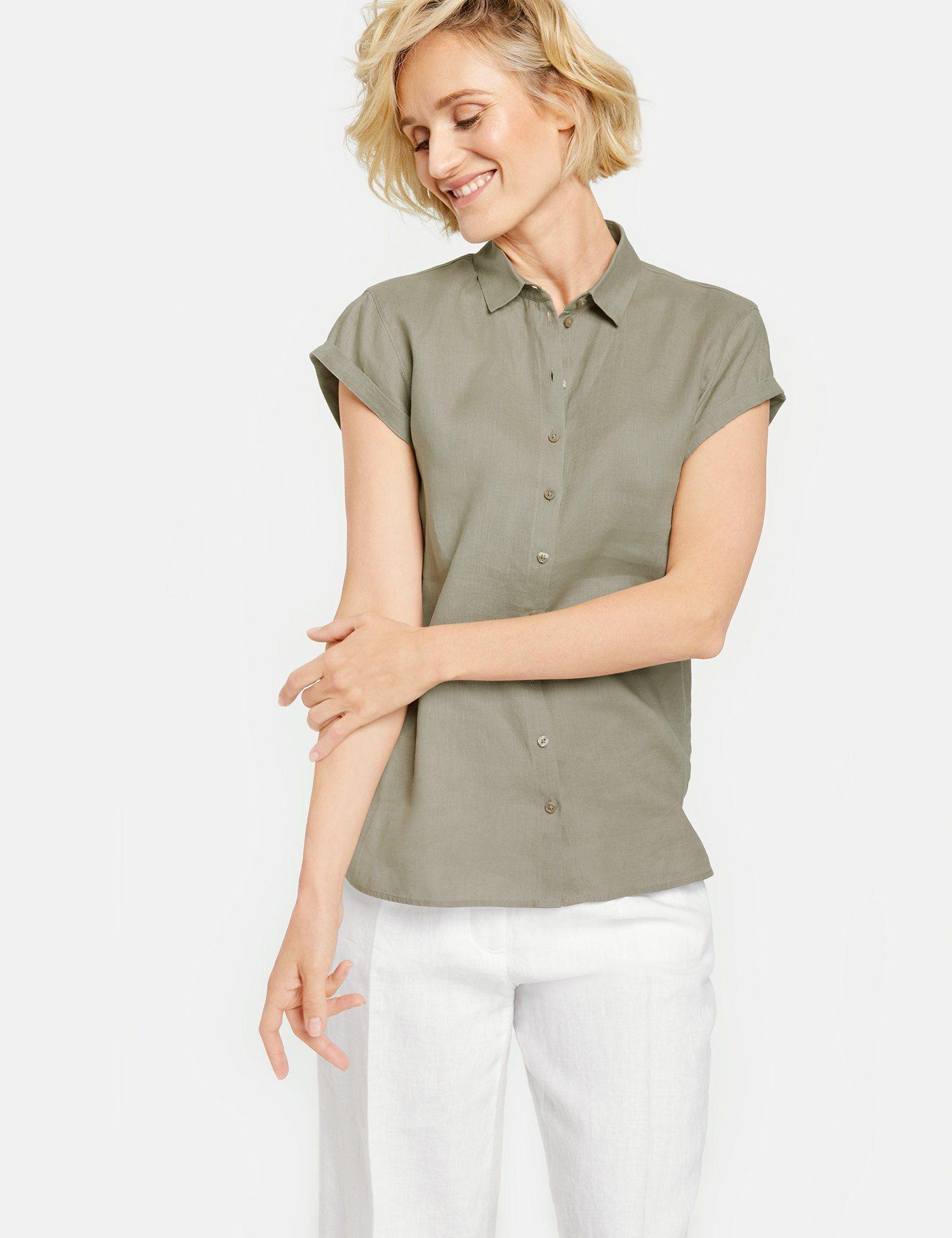 GERRY WEBER Bluse 1/2 Arm Bluse aus reinem Leinen