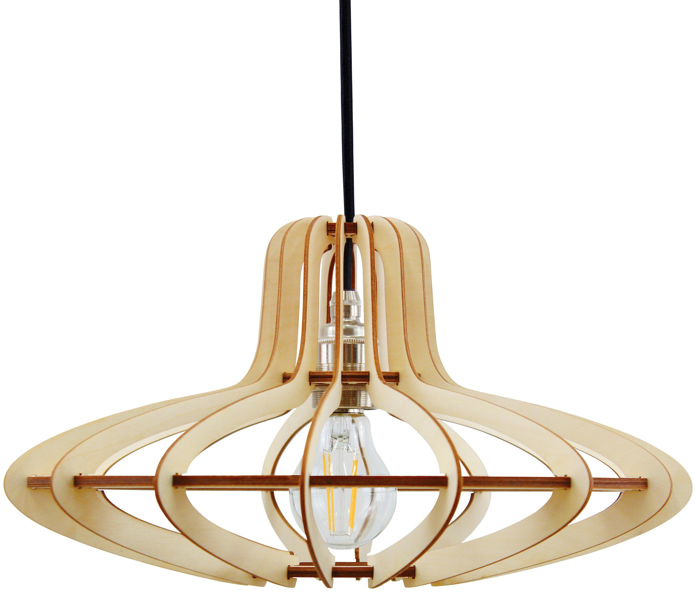 WODEWA Set: Pendelleuchte Holzlampe Medusa, Natur, LED, 1-flammig