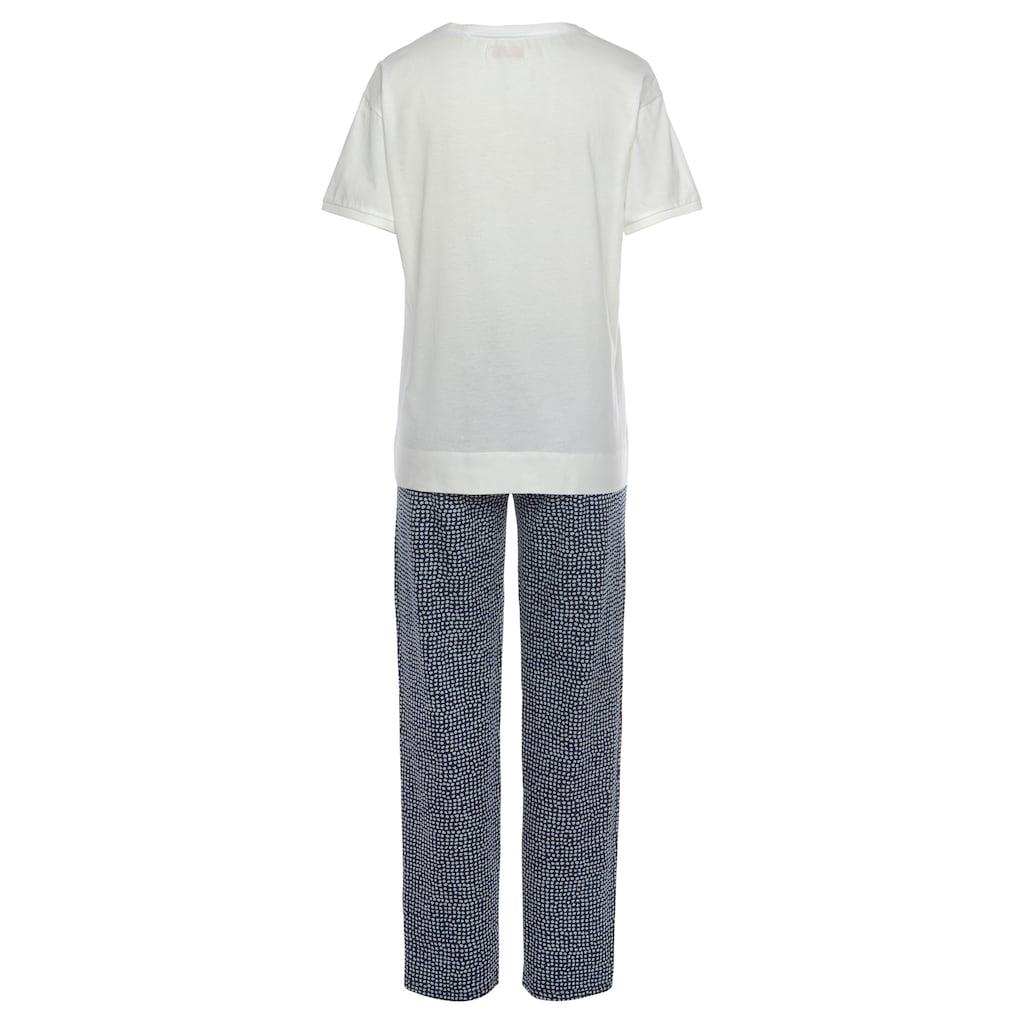 Triumph Pyjama, mit Blätterdruck und gepunkteter Hose