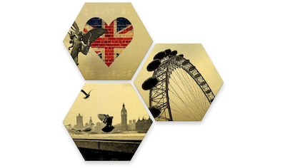 Wall-Art Mehrteilige Bilder »Goldeffekt London Collage«, (Set, 3 St.) kaufen