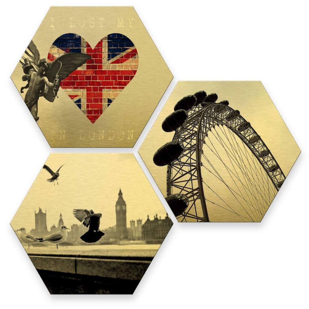 Wall-Art Mehrteilige Bilder »Goldeffekt London Collage«, (Set, 3 St.)