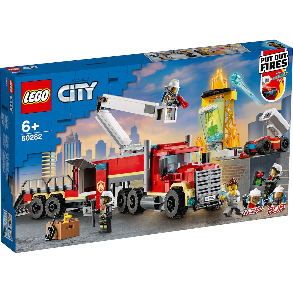 LEGO® Konstruktionsspielsteine »Mobile Feuerwehreinsatzzentrale (60282), LEGO® City Fire«, (380 St.), Made in Europe