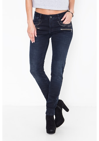 ATT Jeans Slim-fit-Jeans »Lindsay«, mit partiellem Glanzdruck und Reißverschlüssen kaufen